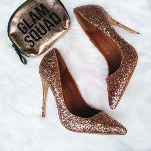 NEW Windsor Rose Gold Glitter Pumps Heels